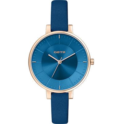 GOTO 緣起不滅簡約時尚手錶-IP玫x藍/36mm