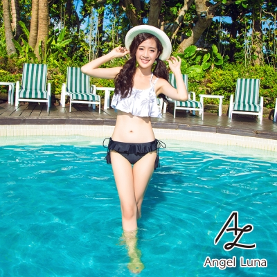 AngelLuna日本泳裝-椰樹印花荷葉邊兩件式比