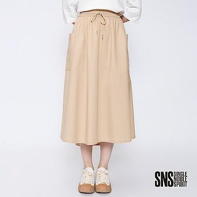 SNS 率性街頭大口袋抽繩純色長裙(2色)