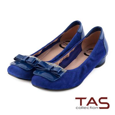 TAS-太妃Q系列-柔軟乳膠蝴蝶結水鑽復古方頭低跟