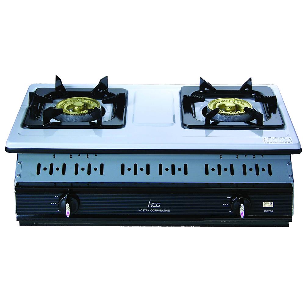 和成HCG 雙環銅合金爐蓋琺瑯爐架不鏽鋼崁入式二口瓦斯爐(GS252Q)
