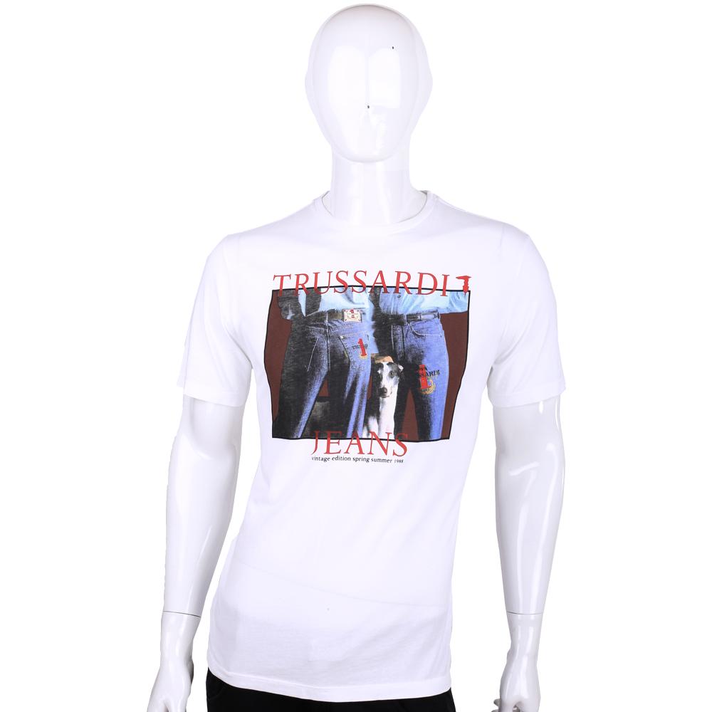 TRUSSARDI-JEANS 白色狗狗圖案棉質短袖T恤