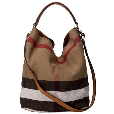 BURBERRY THE ASHBY CANYAS 格紋皮革中款水桶包 棕色
