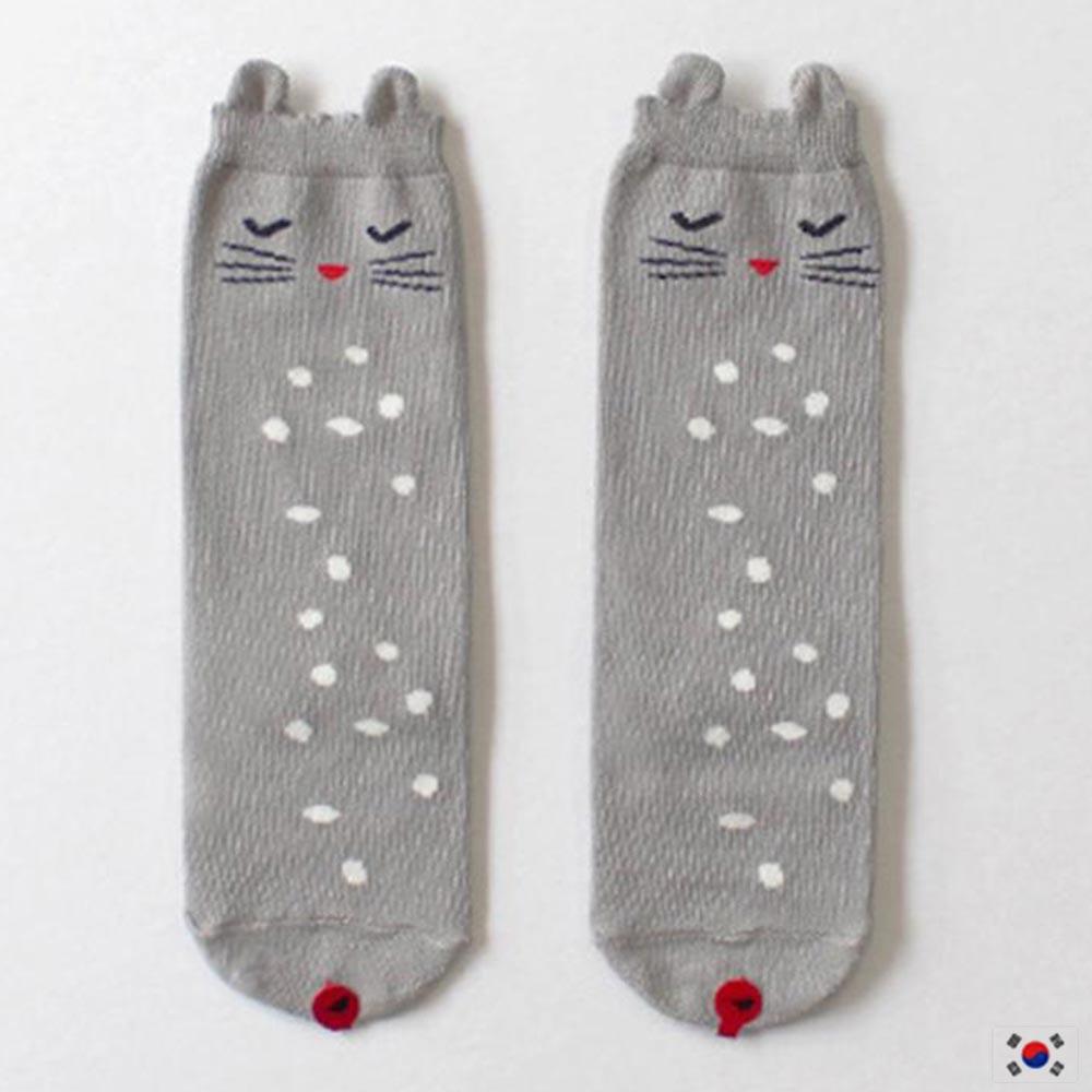 Korea Imports 貓咪灰色膝上襪