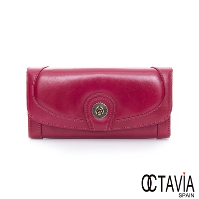OCTAVIA-8-真皮-玫瑰扣-二折壓扣油蠟牛皮長夾-任性紅