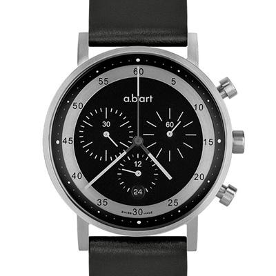 a.b.art OC 多層次圓軌極簡三眼計時碼錶-黑灰/40.5mm