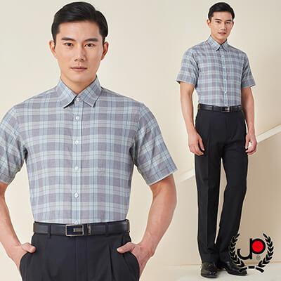 極品西服-簡約高雅格紋短袖襯衫_灰綠格(SS602-83)