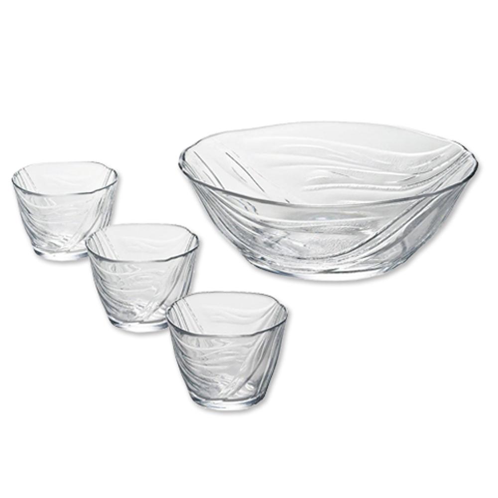 【ADERIA】日本進口涓流系列冷麵專用玻璃碗4件家庭組