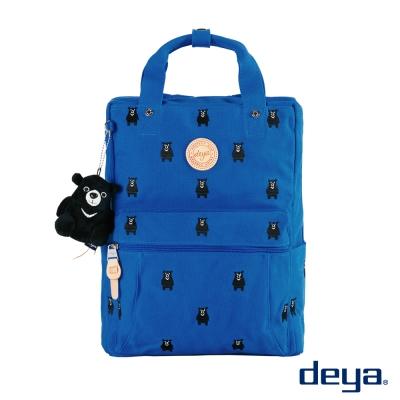 deya 熊森林系 MIT刺繡帆布後背包  藍