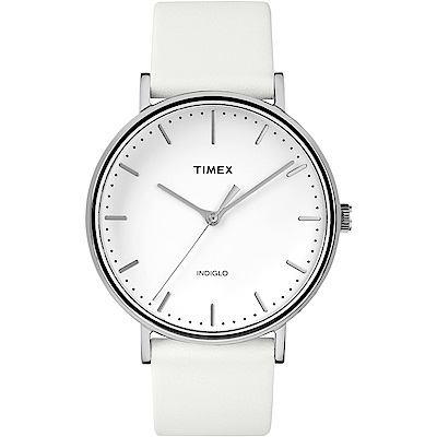 TIMEX 天美時 週末Fairfield系列 時尚手錶-白/41mm