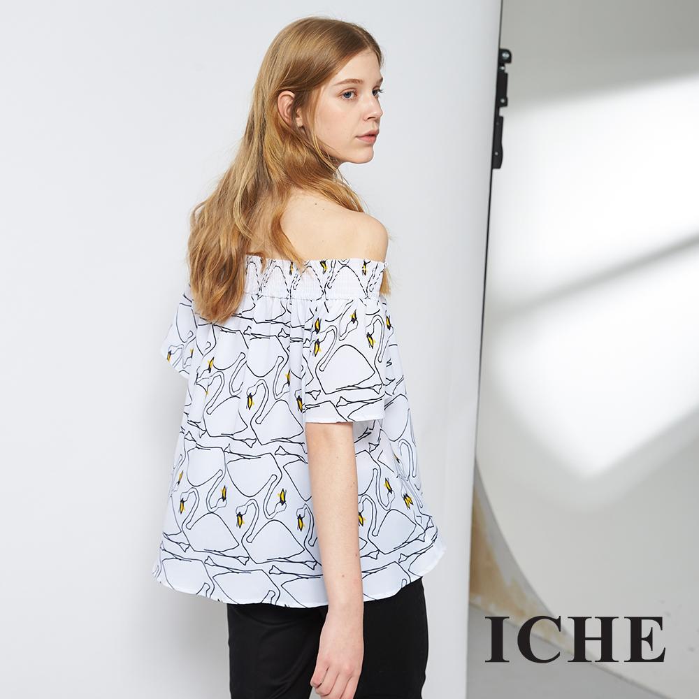 ICHE 衣哲 時尚天鵝印花平口圓領造型上衣 兩穿