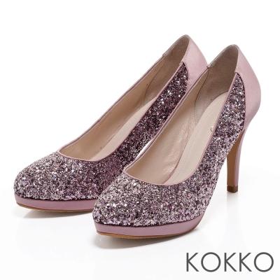 KOKKO台灣手工 -閃耀彩鑽拼接鍛面高跟鞋 - 俏麗粉