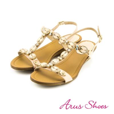 Arus-性感水鑽寶石真皮楔型厚底T字涼鞋-粉色