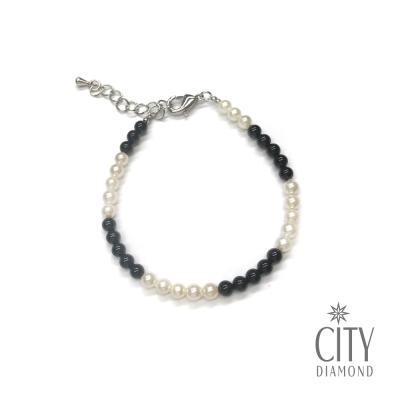 City Diamond引雅 【手作設計系列 】黑瑪瑙珍珠手鍊