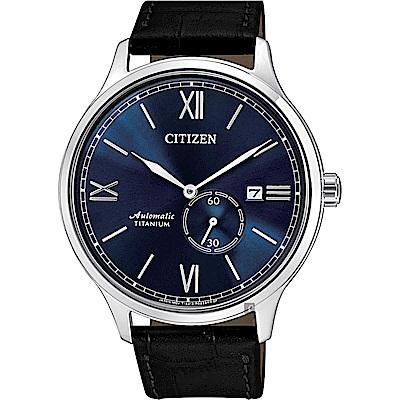 CITIZEN星辰 爵士鈦金屬機械錶-藍x黑/42mm