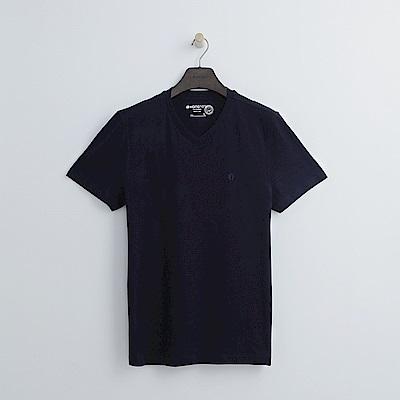 Hang Ten - 男裝 - 有機棉 基本V領T恤-深藍色