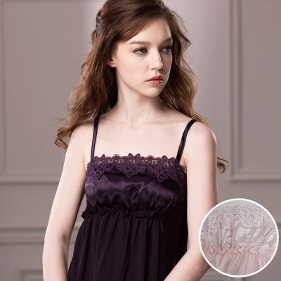 羅絲美睡衣 -高雅奢華紗典細肩帶洋裝睡衣 (粉色)
