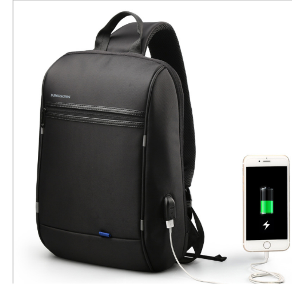 leaper KINGSONS USB充電 防潑水防盜休閒單肩背包 黑色