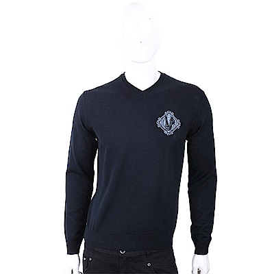 VERSACE 經典刺繡圖騰黑夜藍針織羊毛衫