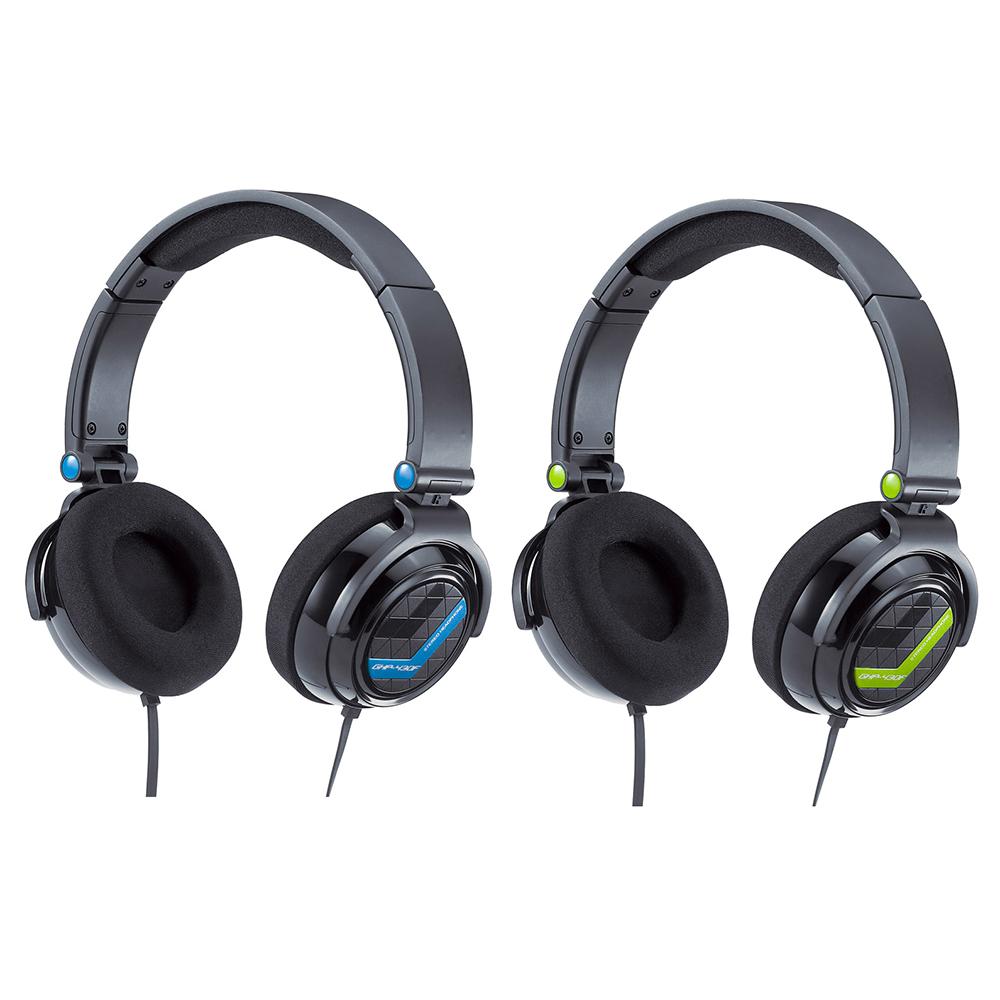 Genius GHP-430F-全罩頭帶式立體聲耳機(藍/綠)