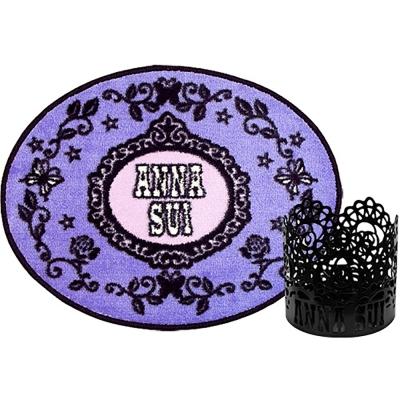 ANNA SUI安娜蘇 薔薇紫蝶地毯+魔幻薔薇燭檯-不含燭心