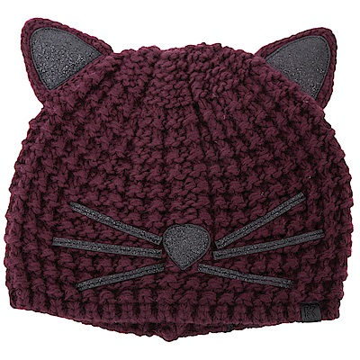 KARL LAGERFELD Choupette 金蔥細節酒紅貓咪造型針織帽