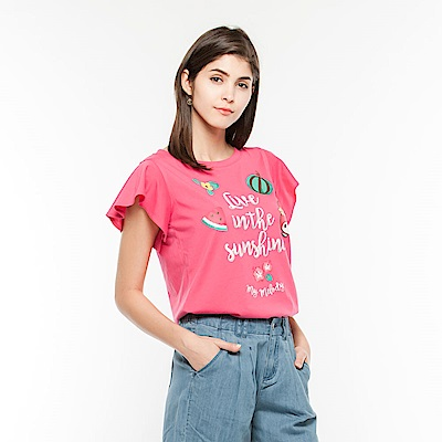 Hang Ten -女裝 - Hello Kitty飄逸荷葉袖T-shirt-桃紅色