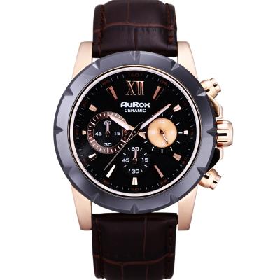 AuRox歐銳時 尊貴非凡三眼計時陶瓷不鏽鋼石英計時腕錶(AR1102-玫瑰金)-45mm