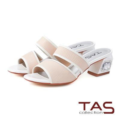 TAS 配色滾邊雙繫帶寶石後跟涼鞋-淺粉膚