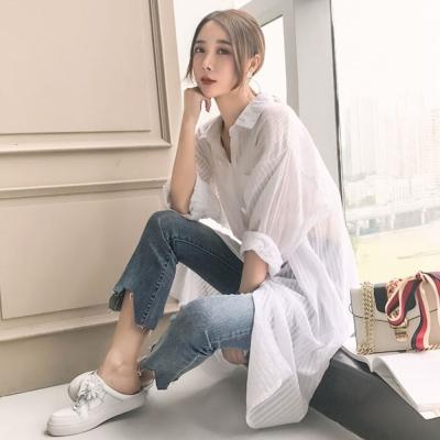 La Belleza白色粗直條排釦單口袋超長版長袖襯衫外套