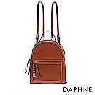 達芙妮DAPHNE-撞色車線鏈條綴飾雙肩後背包-棕