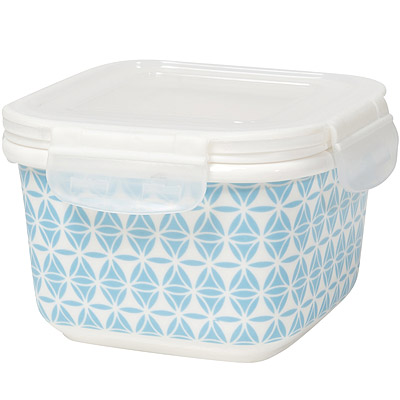 NOW 瓷製方型密封盒(窗花藍5吋)