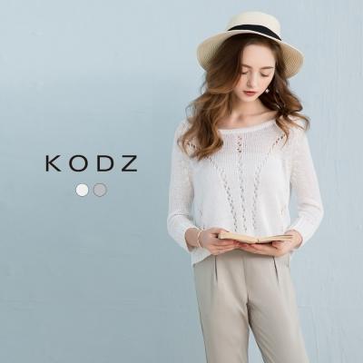 東京著衣-KODZ 簡約設計寬領鏤空七分袖針織衫-S.M(共二色)