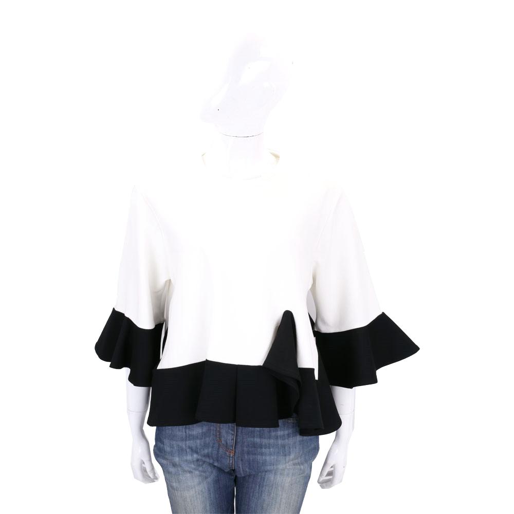 EDWARD ACHOUR PARIS 白黑色拼接荷葉剪裁七分袖上衣(展示品)