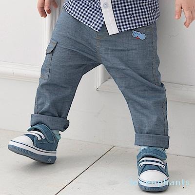 les enphants baby 小象口袋工作風彈力長褲 牛仔藍
