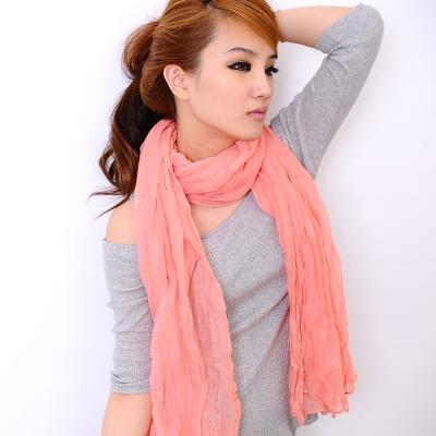 Aimee-Toff-韓版秋冬款純色皺褶加大圍巾-粉膚