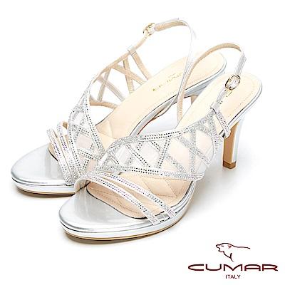 CUMAR奢華時尚-搶眼水鑽網布造型高跟涼鞋-銀色
