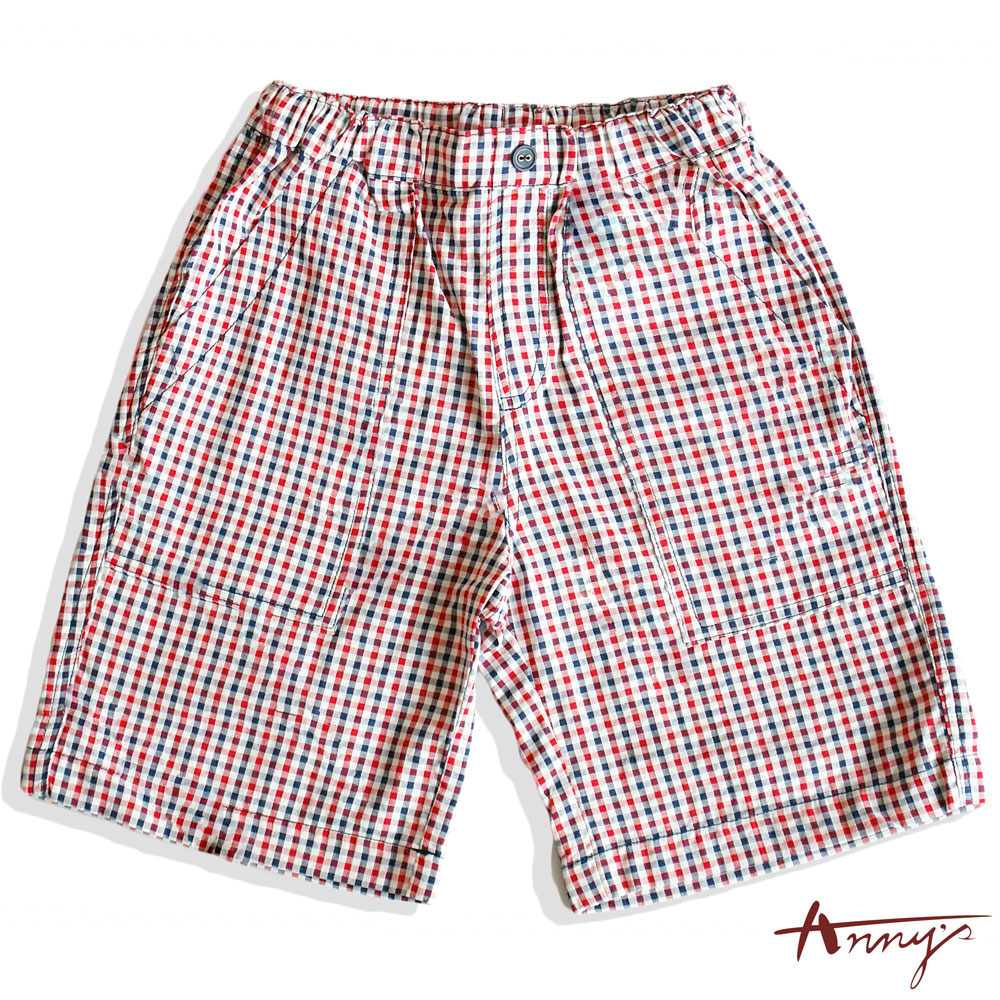 Annys休閒戶外風格紋雙口袋短褲*6394紅