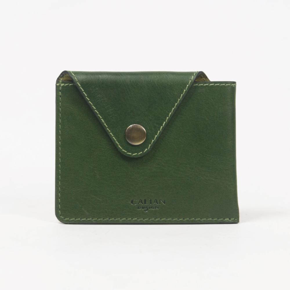 CALTAN-卡片夾 零錢小袋 幾何造型簡約卡夾 -2190cd-綠