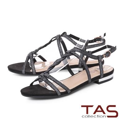 TAS 麻花造型質感T字涼鞋-神秘黑