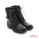 effie 個性美型 防潑水麂皮扣帶綁帶中筒靴 黑色