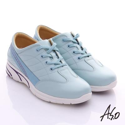 A.S.O 紓壓耐走 全真皮綁帶奈米休閒鞋 淺藍