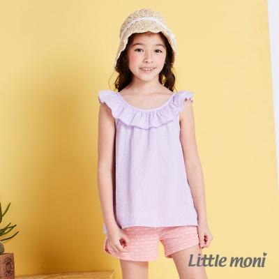 Little moni清甜荷葉女孩無袖襯衫 薰衣草紫