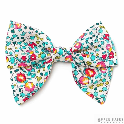 FBH 美國 夏日花園款英國花布款小蝴蝶結髮夾