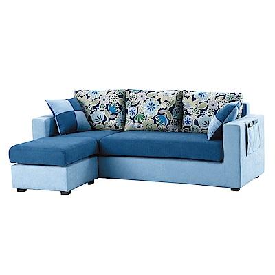 品家居 朵藍雙色亞麻布L型沙發(三人+凳)-180x135x71-免組