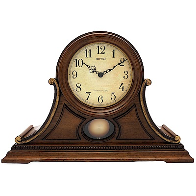 RHYTHM麗聲 古典實木整點敲鐘報時鐘擺座鐘/45cm