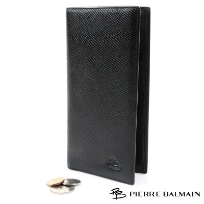 PB皮爾帕門-交叉格紋頭層牛皮真皮 長夾 黑-8卡3夾