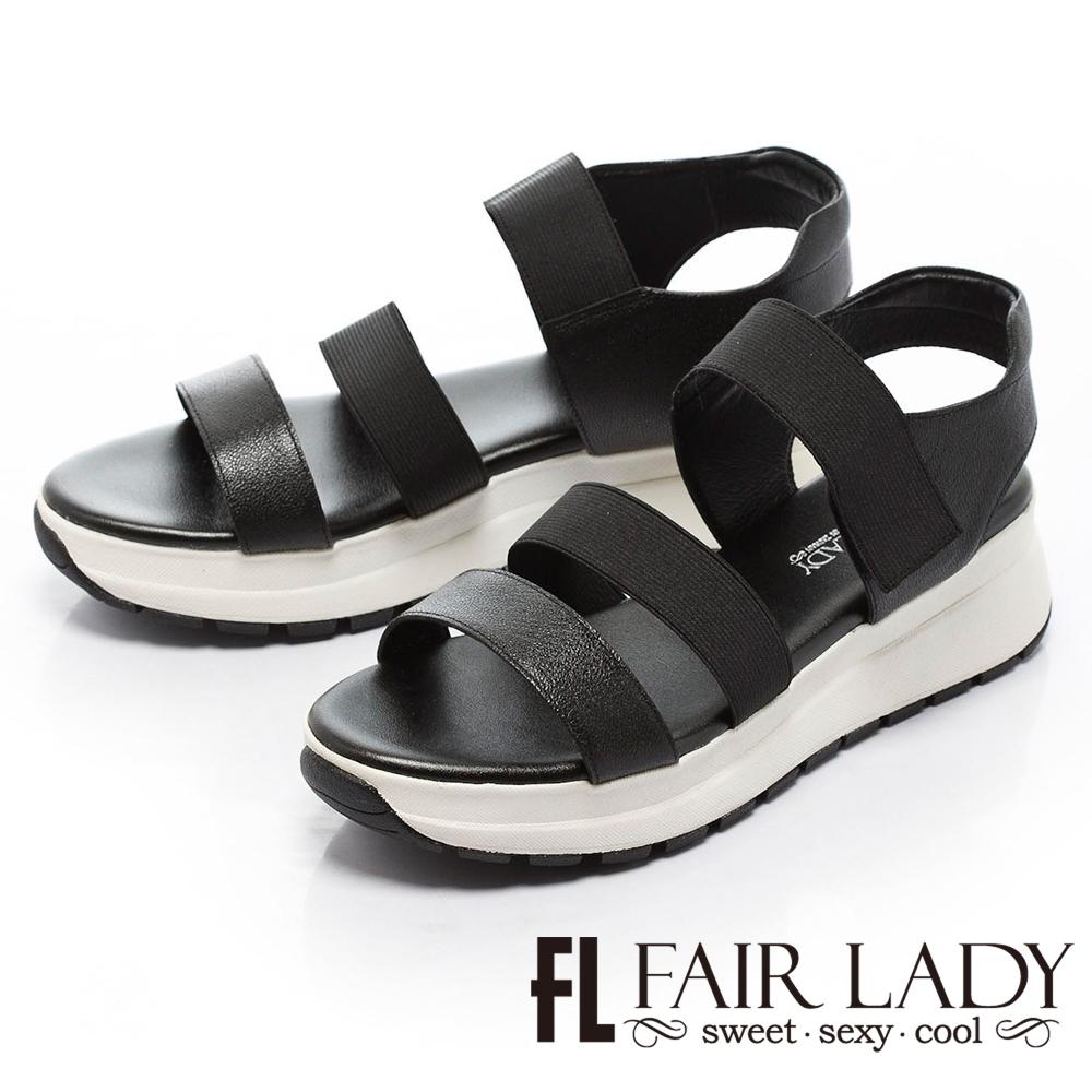 Fair Lady 鬆緊一字運動厚底涼鞋 黑