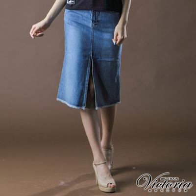 【BIG TRAIN】女款 前開叉割破七分裙(中藍)