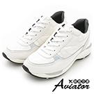 Aviator*韓國空運。正韓製蕾絲皮革幾何拼接造型休閒運動鞋-白